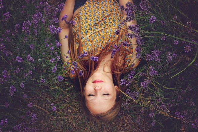 yoga nidra sleeping girl in flowers